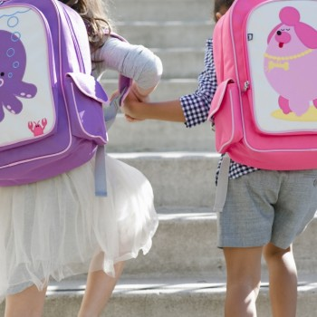 Children with Penelope and Pocchari Backpacks